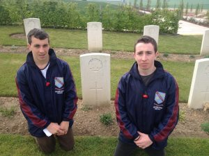 Murray and Patrick Cooke, related through their great great grandmother Margaret (Markham) (Murray) Harris (1877 – 1957), visit Albert Lane's grave at Villers Brettoneux, France, on ANZAC DAY 2014.