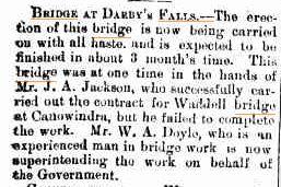 Bridge at Darbys falls NSW [Canowindra Star and Woodstock Recorder Friday 2 May 1902.]