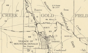 "The Mt McDonald town plan. There is minimal evidence of a settlement.  ""Markham's Creek"" above the town, is probably connected to James Markham rather than his father Edmund Markham."