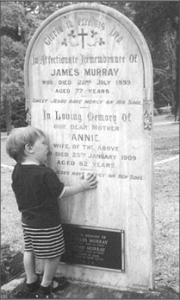 James & Annie's headstone in Rissmore Cemetery with a small 5th generation Australian twig of the Fermanagh Murray family tree.