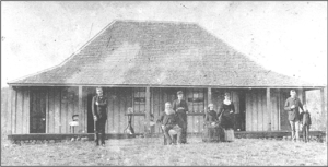 Rissmore homestead with James and family c.1885. LtoR: Edward Thomas Murray, James Murray Snr., Mary Cecilia, Mrs. James Murray (nee McCauley), Annie Mary, Charles Mordaunt Murray (Boy unknown)
