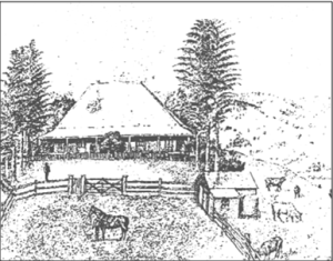 Drawing of original 'Rissmore' homestead by Varney Parkes.